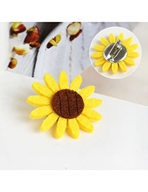 Sweet Yellow Color Matching Decorated Sunflower Shape Brooch