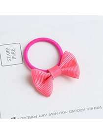 Sweet Fluorescent Pink Bowknot Shape Decorated Pure Color Hair Band