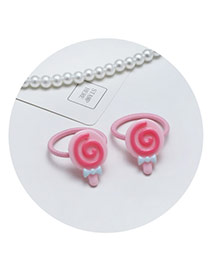 Sweet Pink Lollipop Shape Corated Pure Color Hair Band(2pcs)