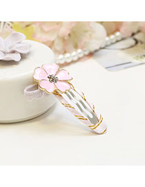 Sweet Pink Flower Shape Decorated Simple Hair Clip