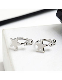 Cute Silver Color Star Shape Decorated Opening Desing Ear Clip