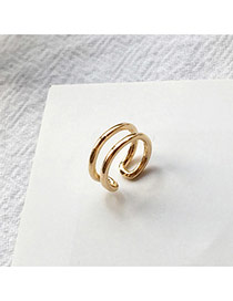 Temperament Gold Color Double Layer Decorated Hollow Out Opening Ear Clip