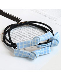 Sweet Light Blue Grid Decorated Multi-layer Bowknot Design Hair Band