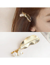Trendy Gold Color Pearls Pendant Decorated Feather Shape Hair Pin