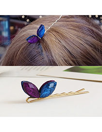 Trendy Yellow Color Matching Decorated Butterfly Shape Hair Pin