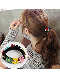 Trendy Multi-color Flower Decorated Color Matching Design Simple Hair Band