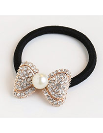 Trendy White Pearl&diamond Decorated Bowknot Shape Hair Band