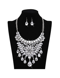 Fashion White Water Drop Shape Diamond Decorated Flower Design Jewelry Sets