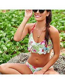 Fashion Multi-color Flower Pattern Decorated Lotus Leaf Design Swimwear