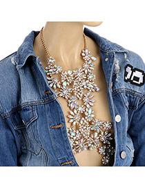 Fashion Gold Color Water Drop Shape Diamond Decorated Flower Shape Design Body Chain