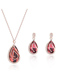 Fashion Light Pink Water Drop Shape Diamond Pendant Decorated Simple Jewelry Sets
