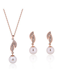 Fashion Rose Gold Pearls&leaf Pendant Decorated Simple Jewelry Sets