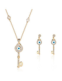 Fashion Gold Color Key Pendant Decorated Color Matching Design Jewelry Sets