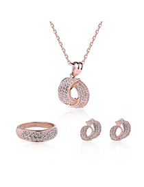 Fashion Rose Gold Diamond Decorated Irregular Shape Design Jewelry Sets