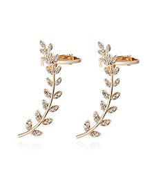 Fashion Gold Color Diamond Decorated Leaf Shape Design Simple Earrings