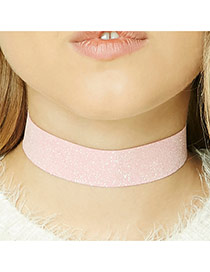 Fashion Orange Pure Color Decorated Simple Width Lace Choker