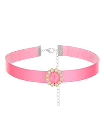Fashion Pink Pearls Decorated Pure Color Design Choker