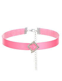 Fashion Pink Square Shape Diamond Decorated Pure Color Design Choker