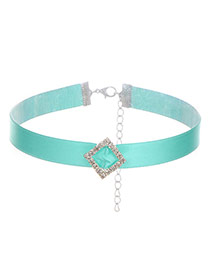 Fashion Blue Square Shape Diamond Decorated Pure Color Design Choker