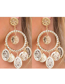 Fashion Gold Color Round Shape Pendant Decorated Pure Color Simple Earrings