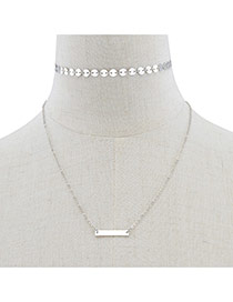 Fashion Silver Color Copper Sheet Decorated Double Layer Simple Necklace