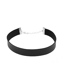 Fashion Black Pure Color Decorated Simple Width Choker
