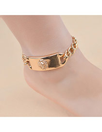 Fashion Gold Color Large Meatball Pattern Decorated Pure Color Anklet