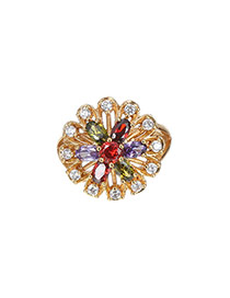 Fashion Multi-color Water Drop Shape Diamond Decorated Hollow Out Flower Ring