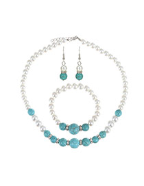 Fashion Blue Pearls Decorated Color Matching Design Jewelry Sets (3pcs)