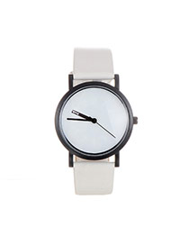 Fashion White Color Matching Decorated Round Dial Design Watch