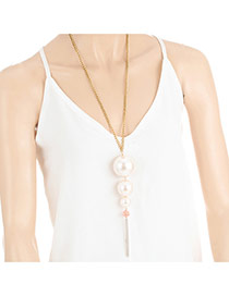 Fashion Milk White Long Tassel&pearls Pendant Decorated Simple Necklace