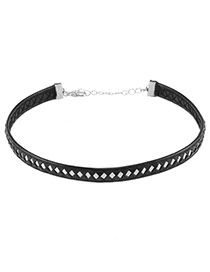 Trendy Silver Color Square Shape Decorated Color Matching Leather Choker