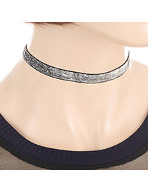 Fashion Silver Color Paillette Decorated Simple Thin Choker