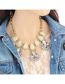 Fashion Multi-color Water Drop Shape Diamond Decorated Hollow Out Necklace