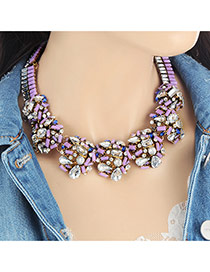 Fashion Purple Geometric Shape Diamond Decorated Color Matching Necklace