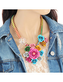 Fashion Multi-color Flower Decorated Color Matching Design Necklace