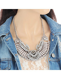Fashion Silver Color Oval Shape Diamond Decorated Hollow Out Necklace