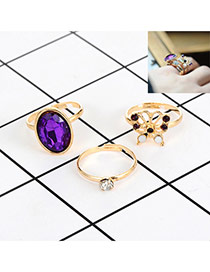 Fashion Purple Diamond&butterfly Decorated Color Matching Simple Ring(3pc) Reviews