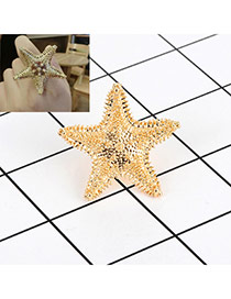 Fashion Gold Color Starfish Decorated Pure Color Simple Ring