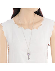 Fashion Silver Color Key&crown Pendant Decorated Color Matching Long Necklace