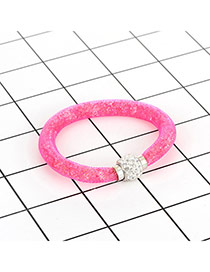 Fashion Pink Diamond Decorated Pure Color Simple Bracelet