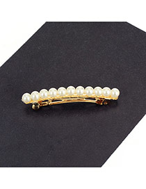 Fashion Milk White Pearls Decorated Color Mathcing Simple Hair Pin