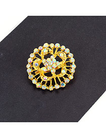 Fashion Gold Color Flower Decorated Hollow Out Simple Brooch