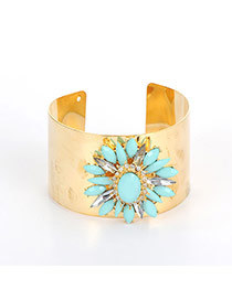Fashion Green Oval Shape Diamond Decorated Flower Shape Bracelet