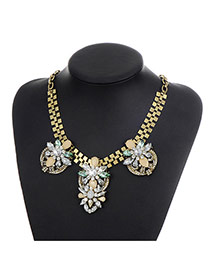 Fashion Multi-color Water Drop Diamond Decorated Flower Shape Simple Necklace