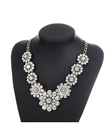 Fashion Silver Color Round Shape Diamond Decorated Flower Shape Simple Necklace