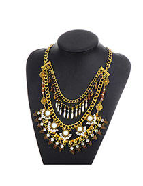 Fashion Gold Color Tassel Pendant Decorated Multi-layer Simple Necklace