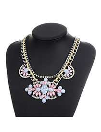 Fashion Pink Oval Shape Gemstone Decorated Double Layer Necklace