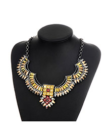 Fashion Champagne Sqaure Shape Diamond Decorated Irregular Shape Necklace