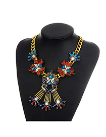 Fashion Multi-color Flower Decorated Color Matching Simple Necklace